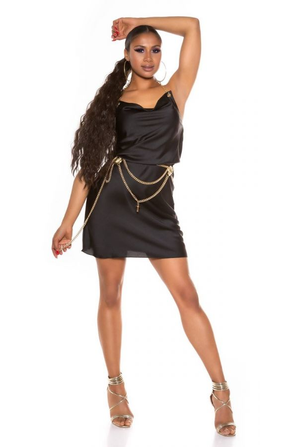 Dress Evening Golden Chain Black ISDK285102