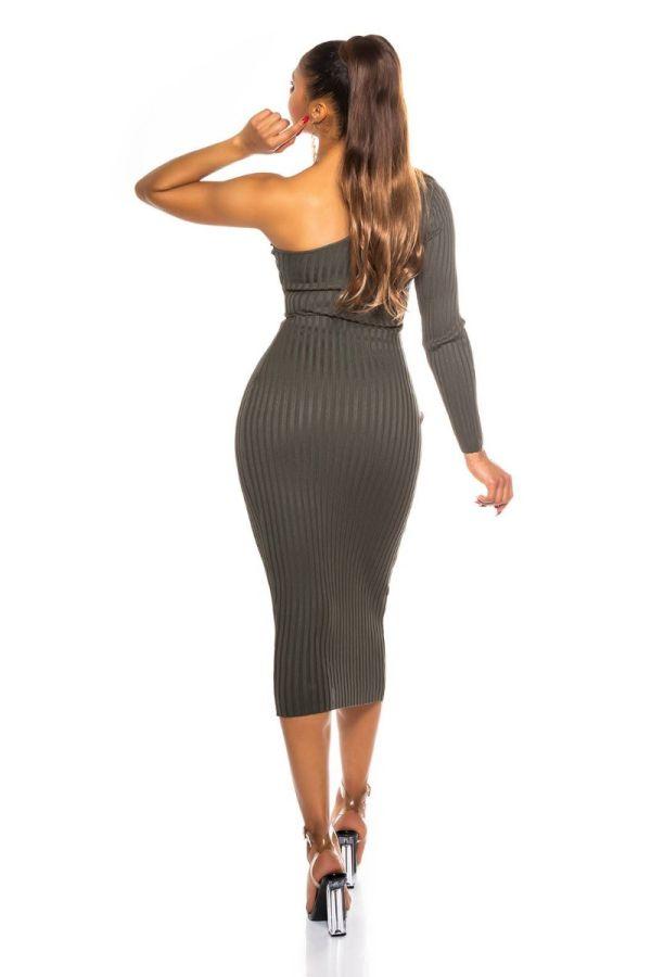 φόρεμα midi ασύμμετρο σέξι χακί.