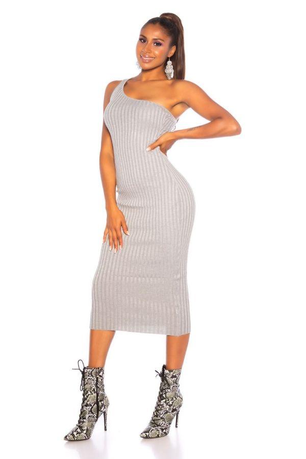 φόρεμα midi πλεκτό ένας ώμος γκρι.