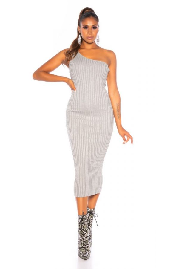 DRESS MIDI KNITTED ONE SHOULDER GREY ISDM92571