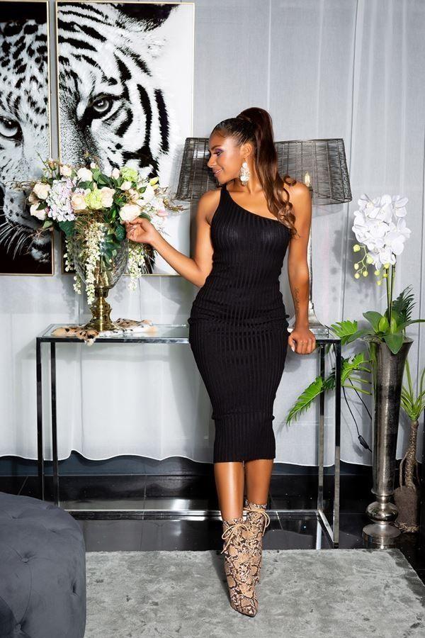 φόρεμα midi πλεκτό ένας ώμος μαύρο.
