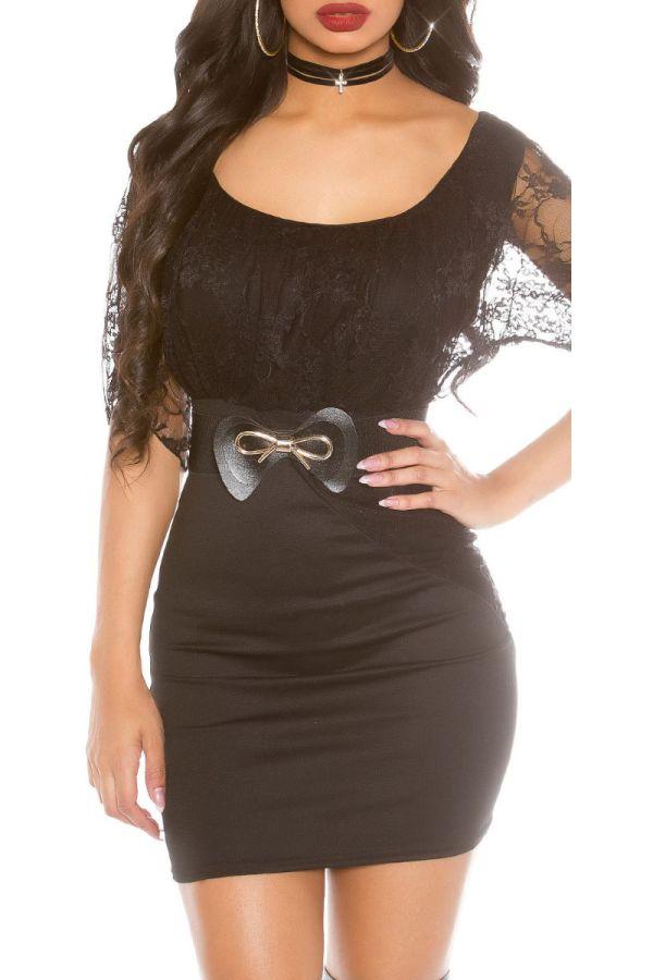 φόρεμα μίνι βραδινό δαντέλα μαύρο.