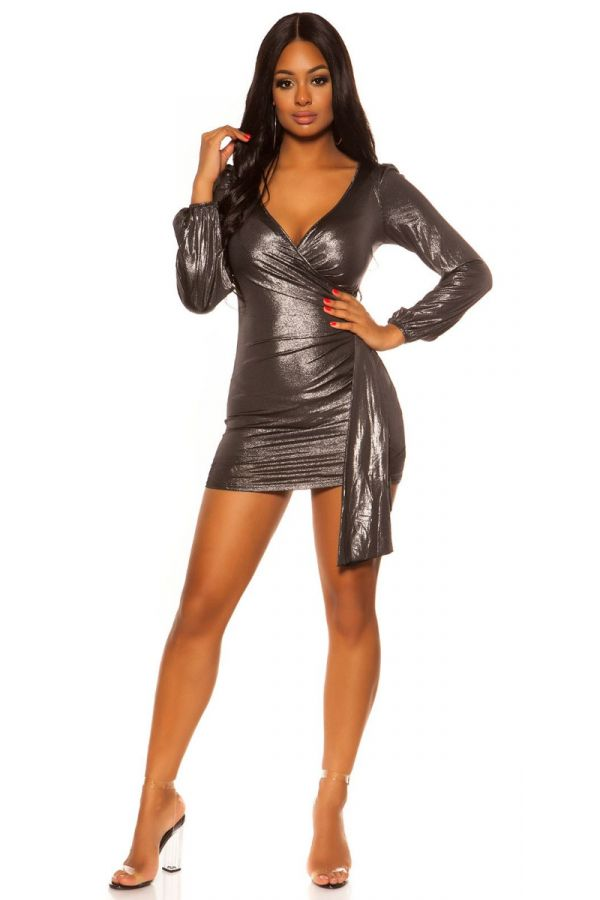 DRESS FORMAL SEXY DECOLLETE SILVER ISDK201092