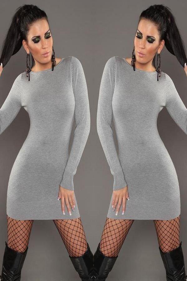 φόρεμα πλεκτό δαντέλα διαφάνεια γκρι.