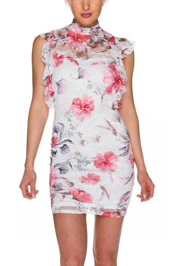 Dress Mini Colorful Floral White QQ1725594