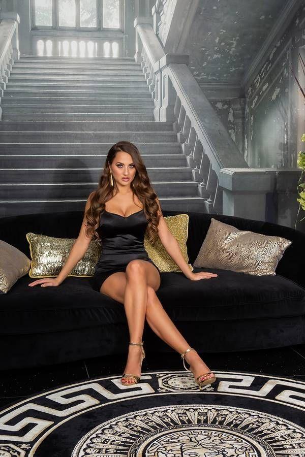 Dress Sexy Evening Sleeveless Satin Black ISDK204217