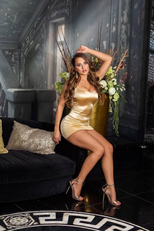 Dress Sexy Evening Sleeveless Satin Gold ISDK204217