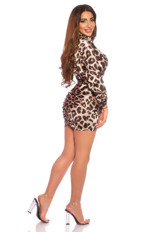 φόρεμα σατέν σέξι ντεκολτέ λεοπαρ.