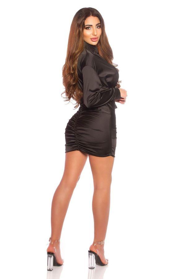 φόρεμα σατέν σέξι ντεκολτέ μαύρο.