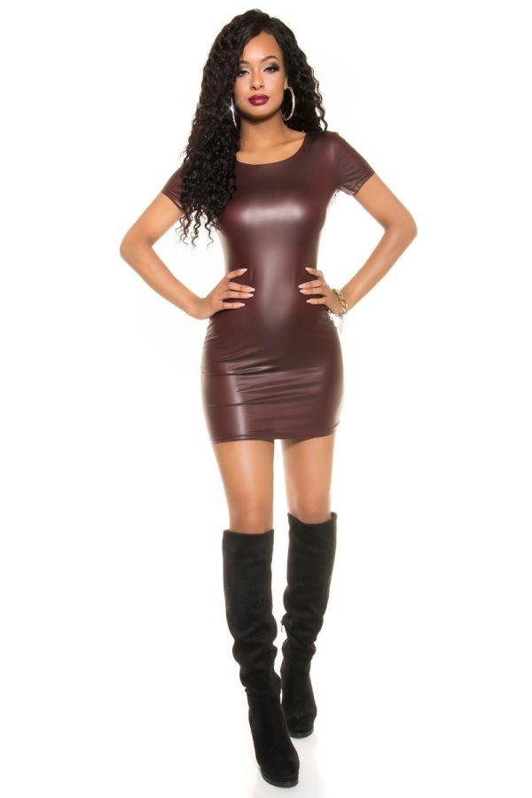 DRESS MINI SEXY WET LOOK BORDEAUX ISDT942511