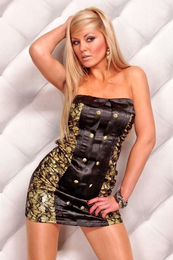 φόρεμα μίνι στράπλες δαντέλα σατέν μαύρο μπεζ