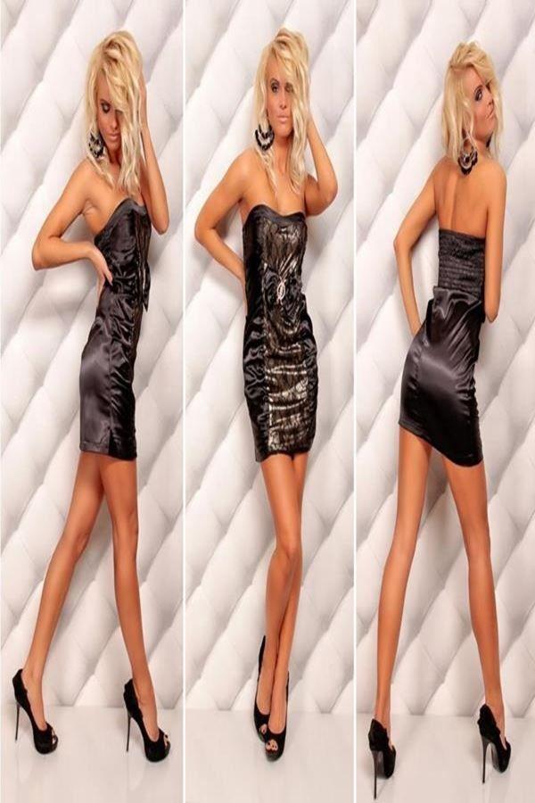 φόρεμα μίνι στράπλες δαντέλα σατέν μαύρο χρυσό