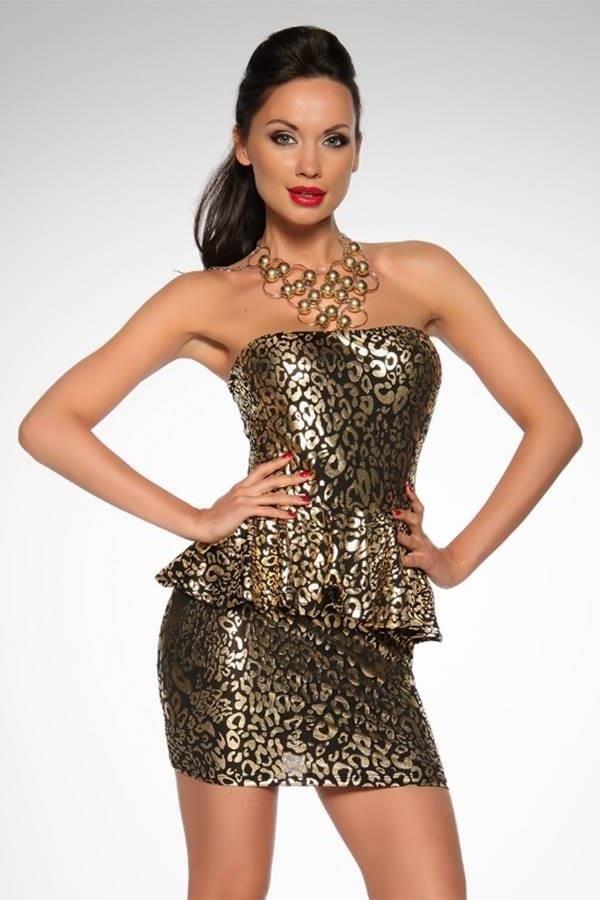 φόρεμα μίνι στράπλες peplum μαύρο χρυσό.