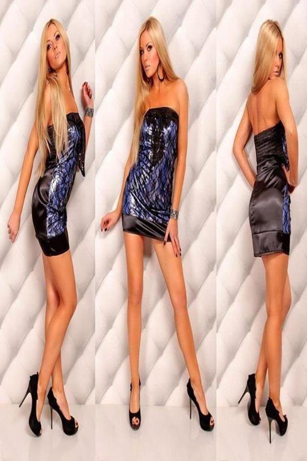 φόρεμα μίνι στράπλες δαντέλα στρας σατέν μπλε μαύρο