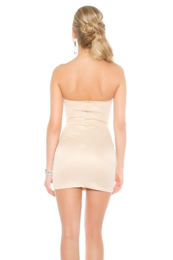 μπεζ στράπλες κοντό φόρεμα διακοσμημένο πέτρες στρας