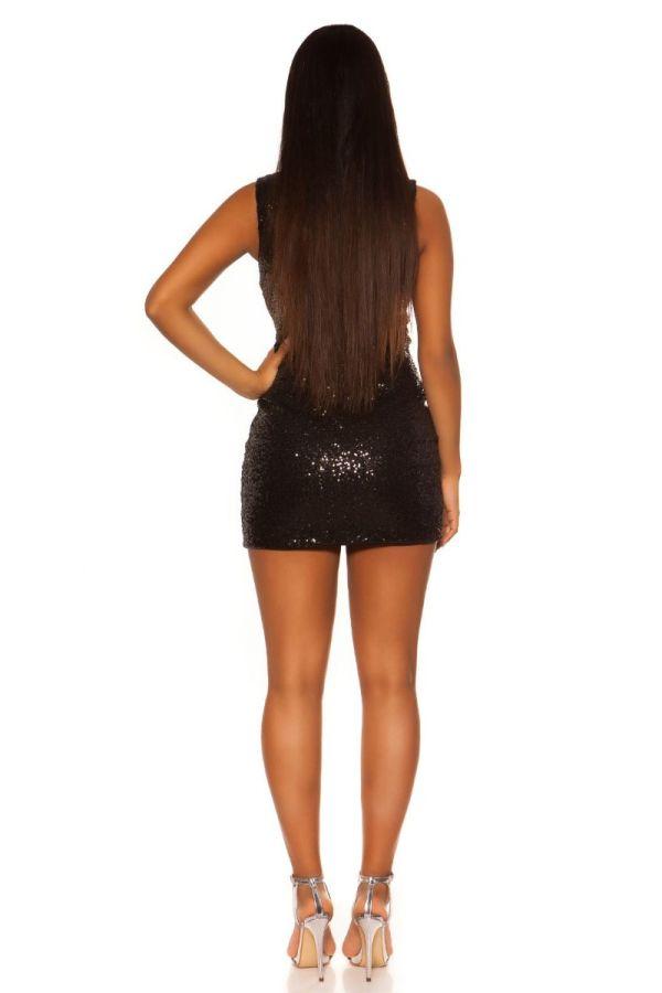 φόρεμα μίνι πάρτι παγιέτες μαύρο.