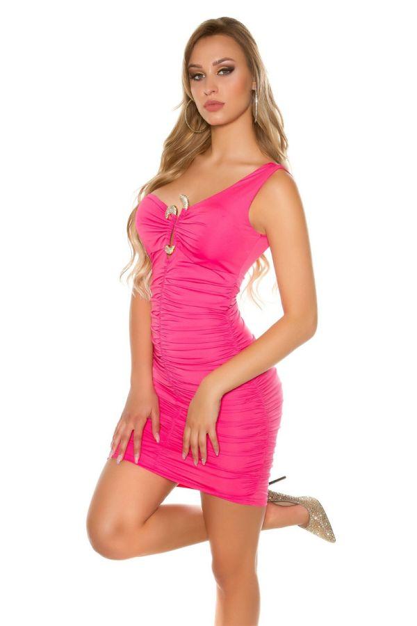 φόρεμα πάρτυ ασύμμετρο ένας ώμος κόσμημα φούξια.