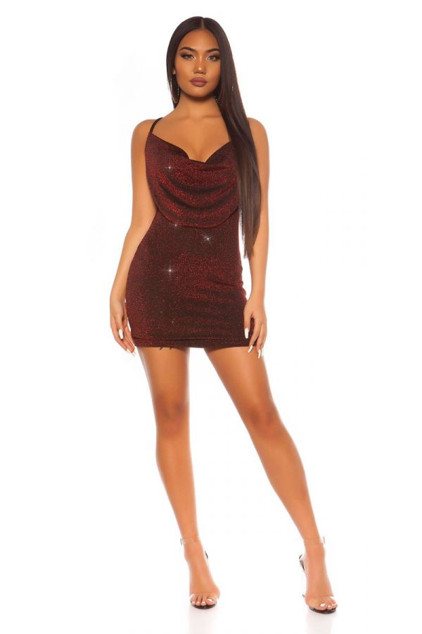 DRESS SLEEVELESS SEXY BACK GLITTER RED ISDK20298
