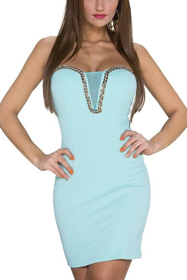 Dress Party Sexy Strapless Turquoise TQ1920934