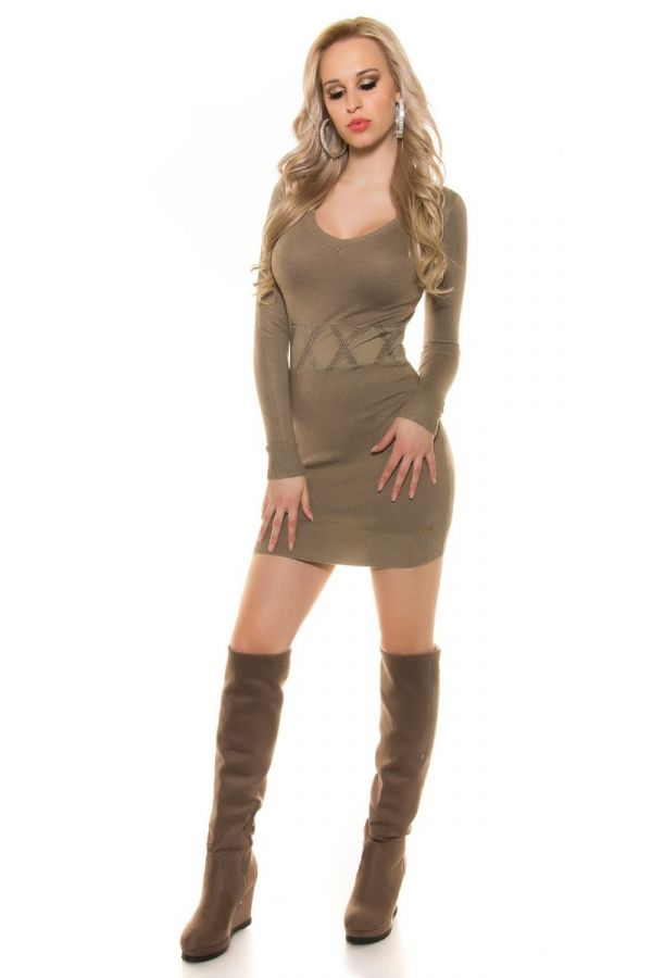 dress knitted transparency beige brown.