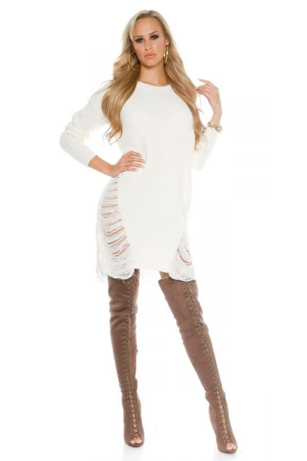 DRESS KNITTED CUT OUTS CREAM ISDN2016961