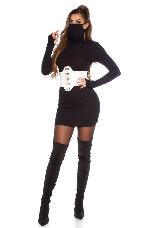 φόρεμα πλεκτό μάσκα προσώπου μαύρο.