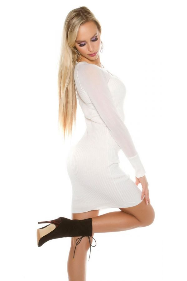 dress knitted transparent sleeves white.