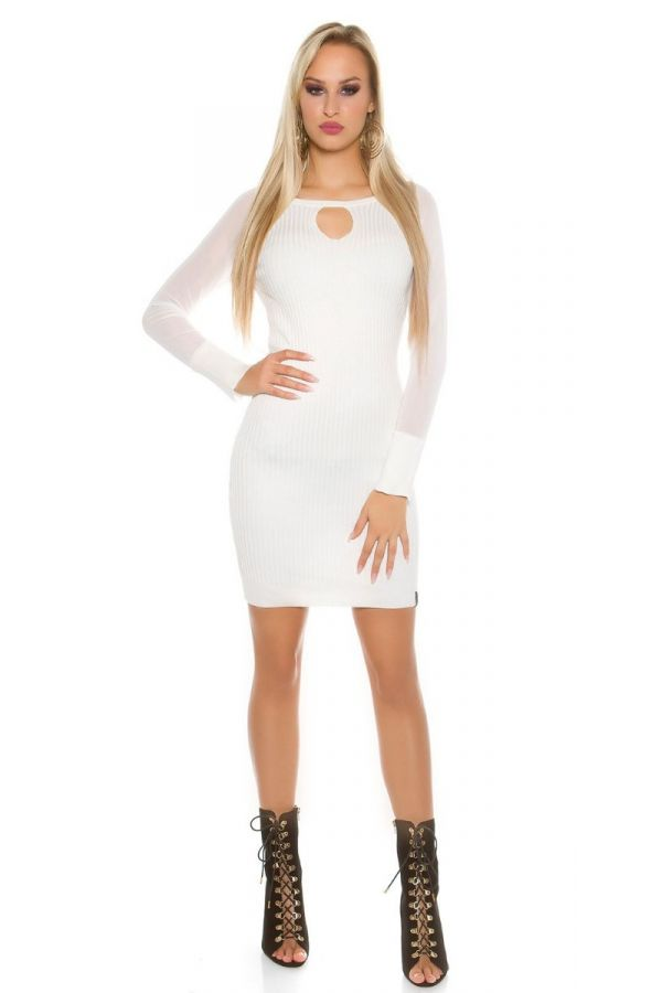 DRESS KNITTED TRANSPARENT SLEEVES WHITE ISDK152811
