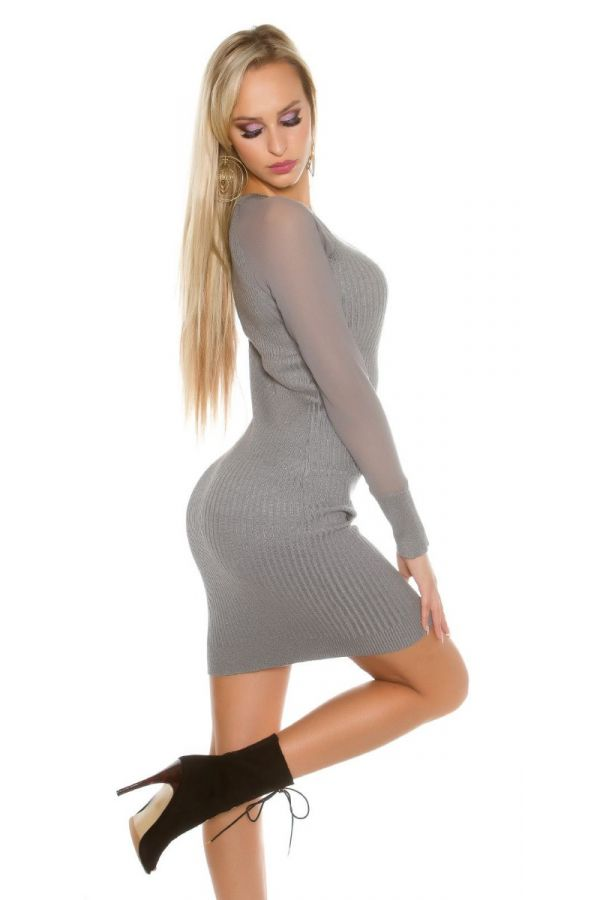dress knitted transparent sleeves grey.