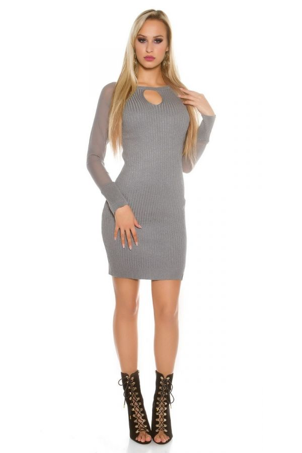 DRESS KNITTED TRANSPARENT SLEEVES GREY ISDK152811