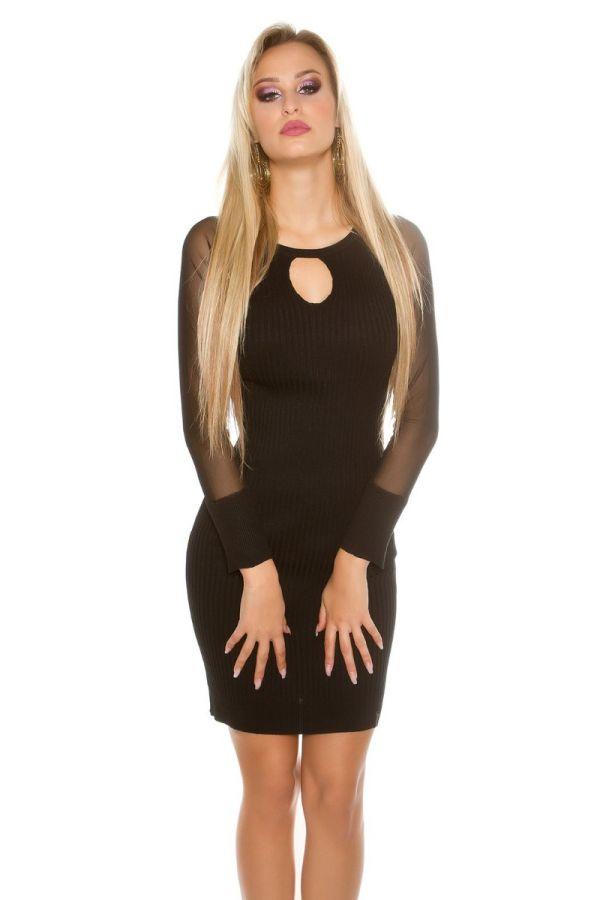 φόρεμα πλεκτό διάφανα μανίκια μαύρο.