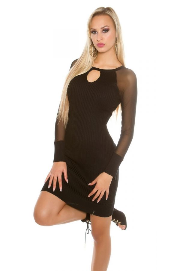 dress knitted transparent sleeves black.