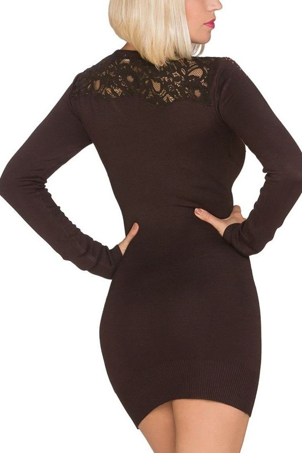 DRESS KNITTED BROWN Q2019573