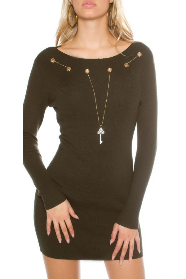 dress kintted long sleeves olive.