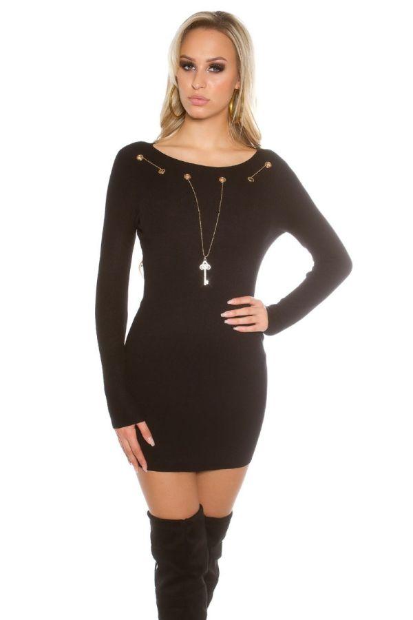 φόρεμα πλεκτό μακριά μανίκια μαύρο.
