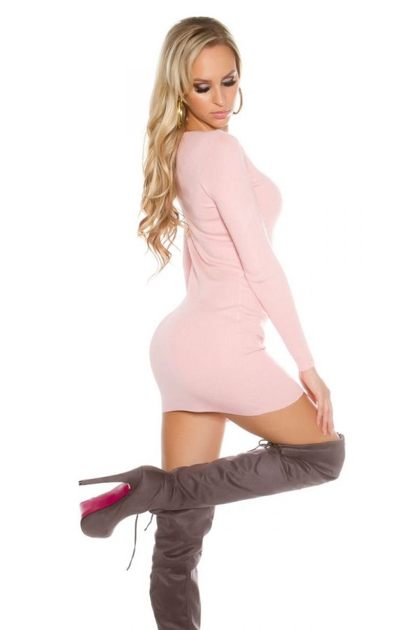 DRESS KNITTED LONG SLEEVES PINK ISDO15373