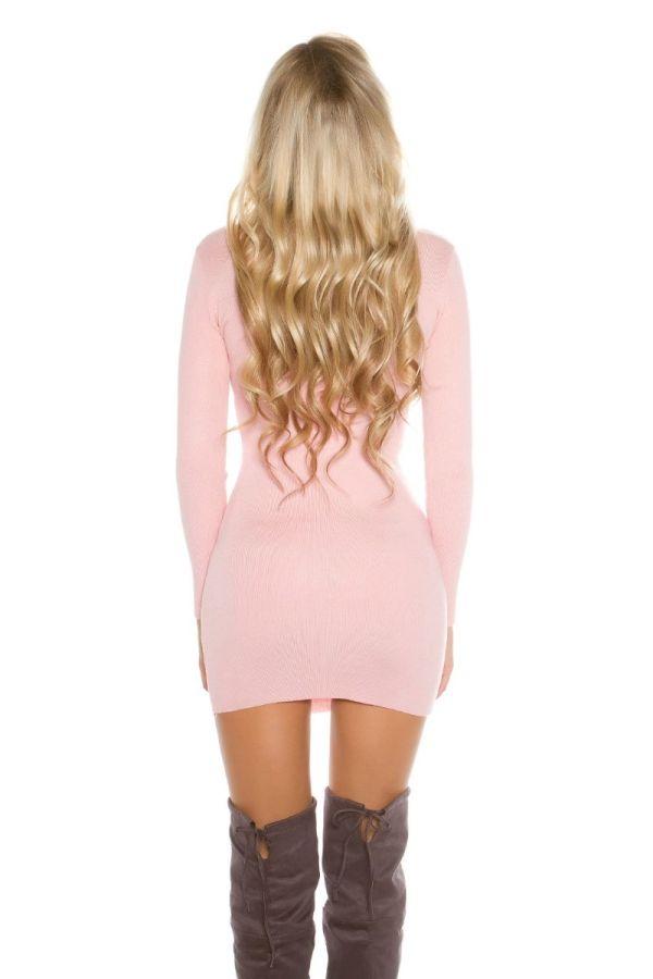 φόρεμα πλεκτό μακριά μανίκια ροζ.