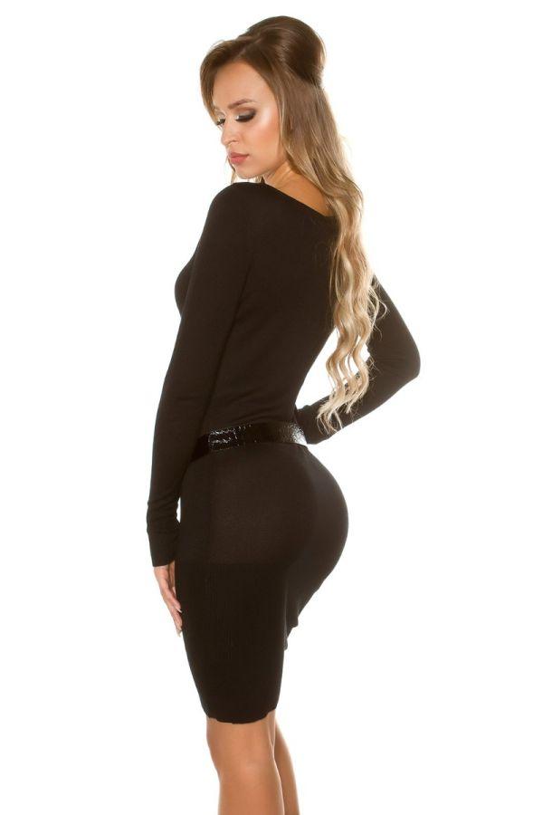 φόρεμα πλεκτό μακριά μανίκια ζώνη μαύρο.
