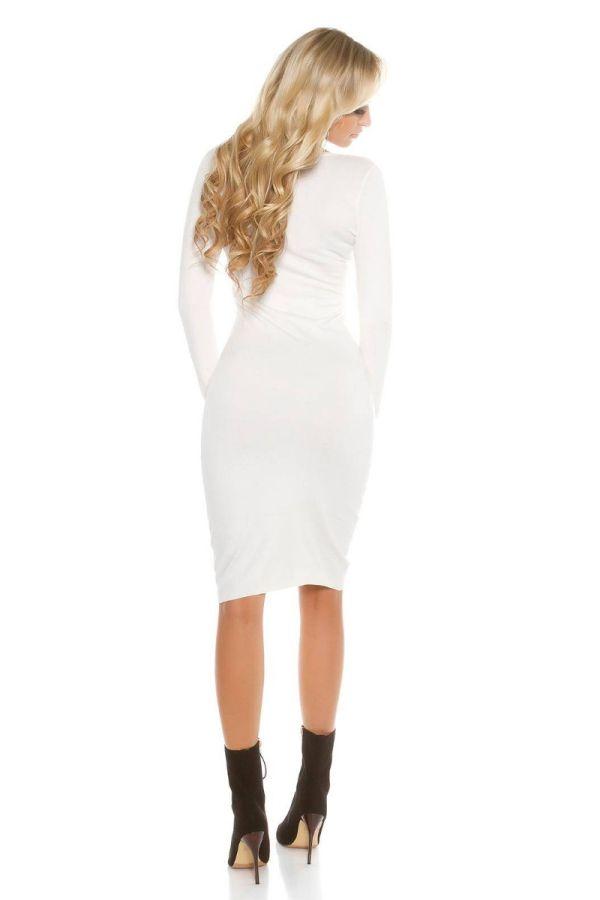 Φόρεμα Πλεκτό Midi Άσπρο ISDF892734