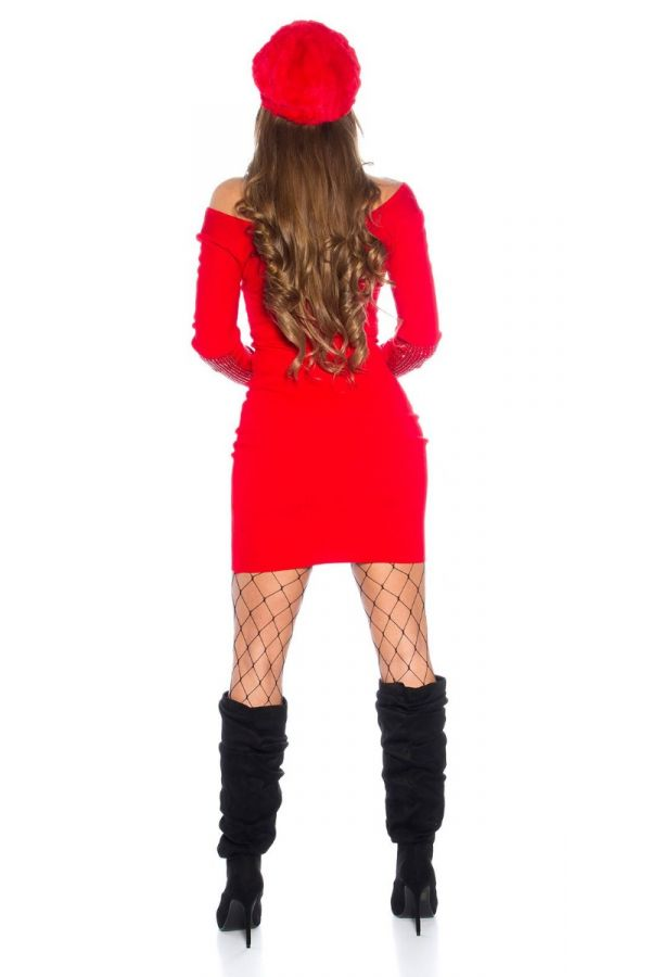 dress knitted strass red.