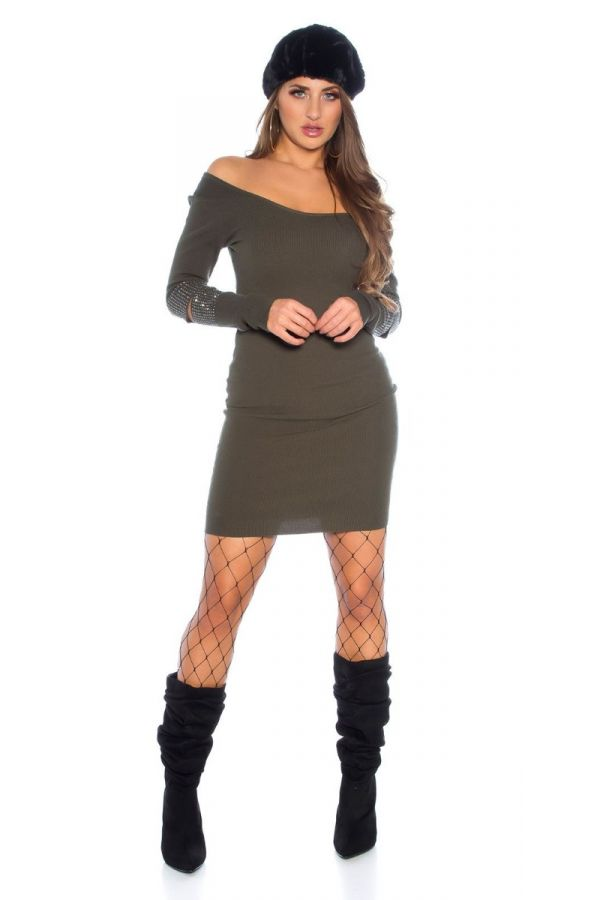 dress knitted strass olive.