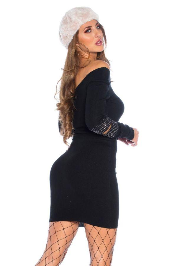 φόρεμα πλεκτό στρας μαύρο.