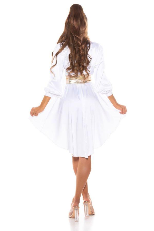φόρεμα πουκαμίσα κουμπιά γιακάς σατέν άσπρο.