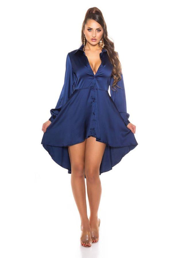 dress shirt buttons lapel satin blue.