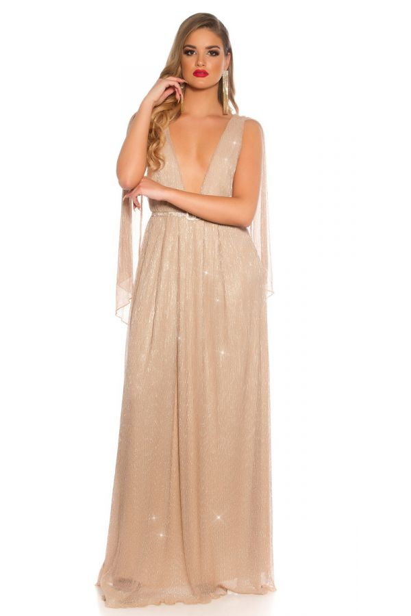 GOWN LONG RED CARPET GREEK GODDESS BEIGE ISDK200944