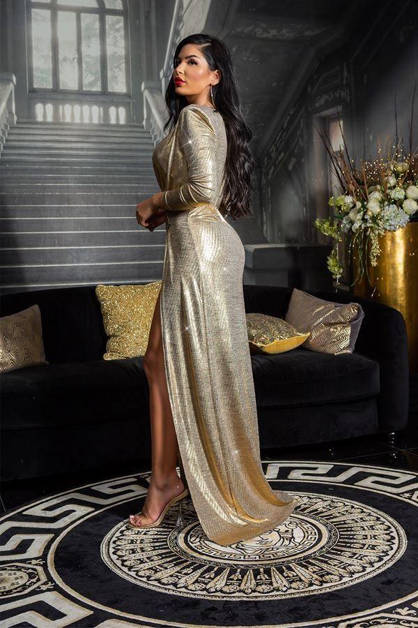 φόρεμα red carpet μακρύ σκίσιμο χρυσό.