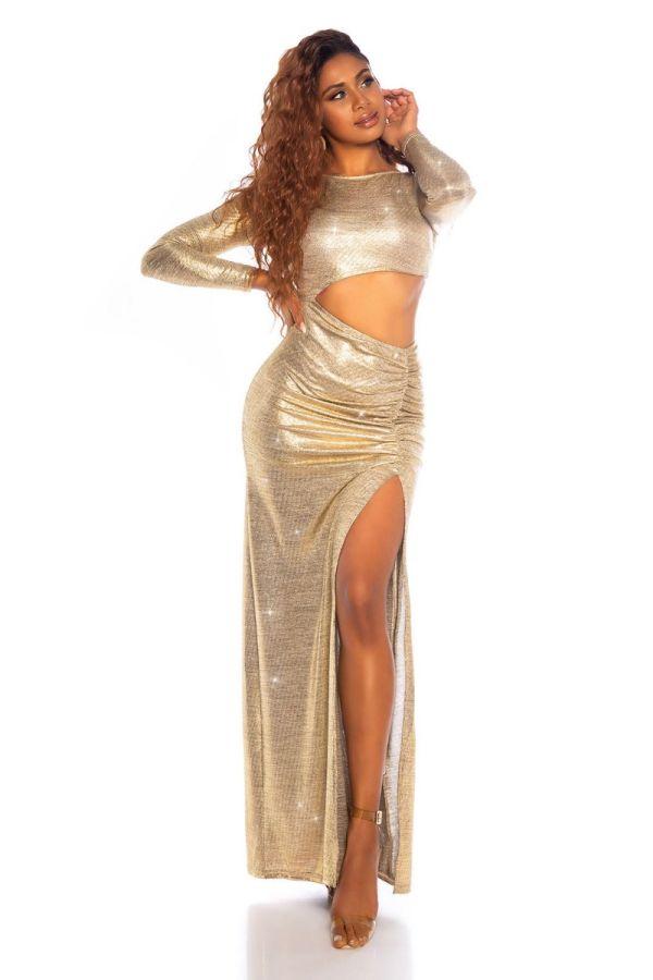 φόρεμα red carpet βραδινό χρυσό.