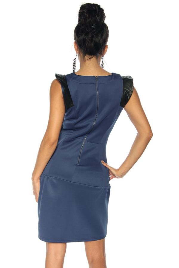 dress retro black panels blue.