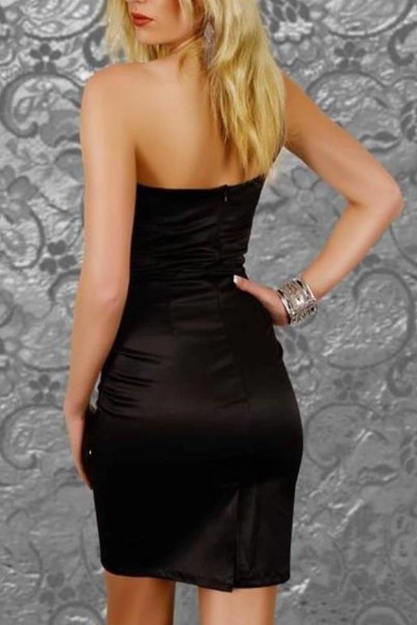 φόρεμα σατέν ασύμμετρο όμος μαύρο.