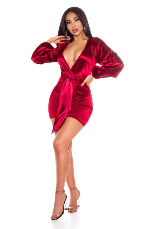 DRESS EVENING SEXY DECOLLETE SATIN BORDEAUX ISDK204177